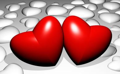 3D Glossy Love Hearts Lovers Concept-Cuori Rossi e Bianchi