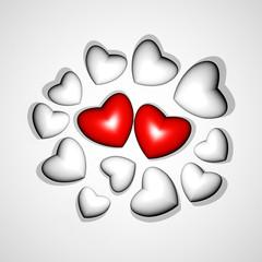 3D Love Hearts Lovers Concept-Cuori d'Amore Rosso e Bianco