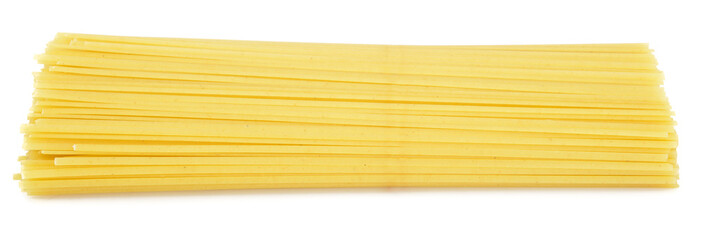 Linguine pasta from side isolated on white background