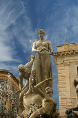 Artemide fountain. Syracuse-- historic city