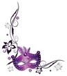 Karneval, Fasching, Maske, Ranke, lila, silber