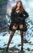 attractive young woman in a winter fashion shot.Winter wild woma