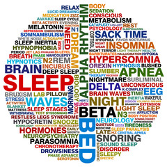 word collage about sleep