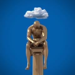 Männliche Statue sitzt auf Säule Gold 3D Wolke