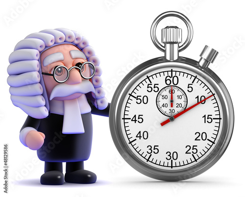 Judge points to stopwatch