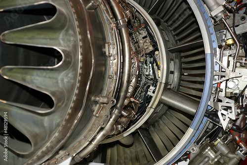 Large jet engine detail viewed from below