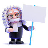 Judge holds a blank placard