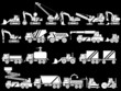 20 ICON SET WORK VEHICLES WHITE