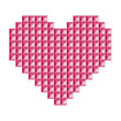 Love, heart symbol made of 3d abstract vector squares