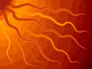 Vector abstract Sun with wavy rays.