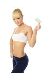 Attractive and positive girl shows business card