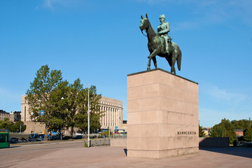 Statue of Mannerheim with Parliament House