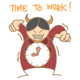cartoon character of red devil clock boss