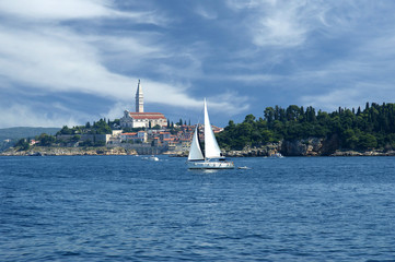 View of the old city Rovinj from the sea--Croatia