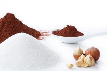 cocoa powder, sugar and hazelnuts