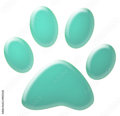 3d blue pet paw