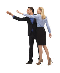 man and woman making a greeting gesture
