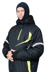 A man in a sports ski jacket