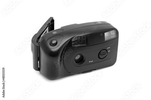 obsolete film camera isolated on a white background