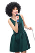 Woman with afro hairstyle doing karaoke