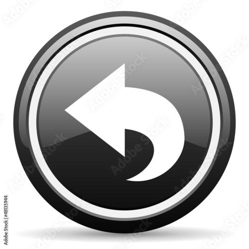 back black glossy icon on white background