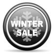 winter sale black glossy icon on white background