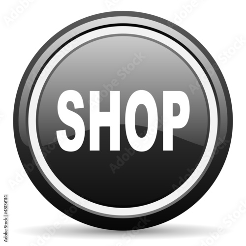shop black glossy icon on white background