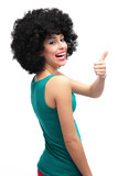 Girl with afro showing thumbs up