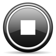 stop black glossy icon on white background