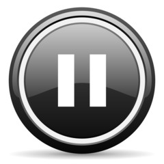 pause black glossy icon on white background