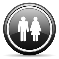 couple black glossy icon on white background
