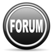 forum black glossy icon on white background
