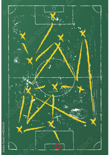 Soccer tactic diagram on a chalkboard, vector format
