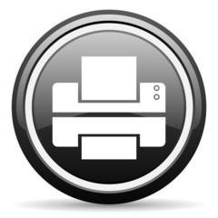 printer black glossy icon on white background