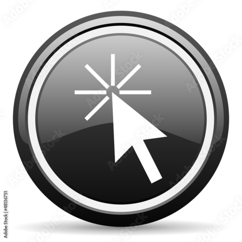 click here black glossy icon on white background