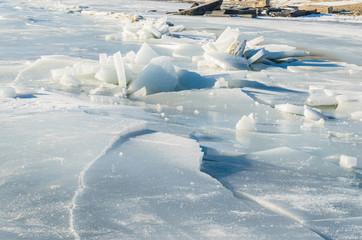 Fragments of ice frozen sea