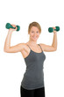 woman with free weights and  motion blur
