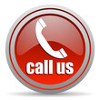 call us red glossy icon on white background