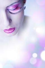 Occhio ragazza makeup rosa