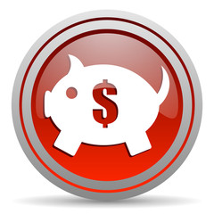 piggy bank red glossy icon on white background