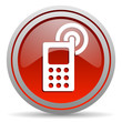cellphone red glossy icon on white background