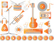 MUSIC SET ICON COLOURED CLEAN ORANGE