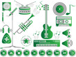 MUSIC SET ICON COLOURED CLEAN GREEN