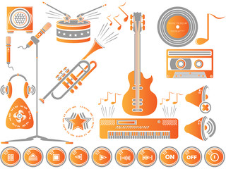 MUSIC SET ICON COLOURED CLEAN ORANGE