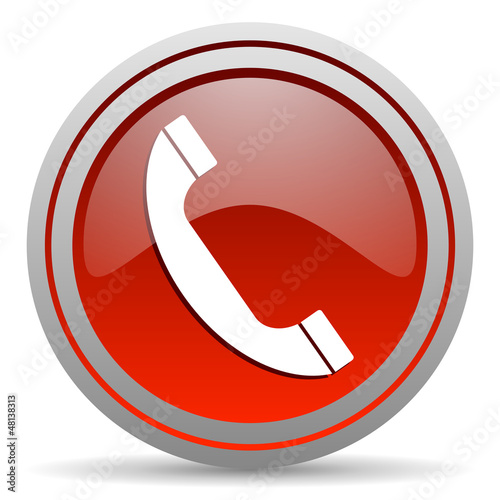 phone red glossy icon on white background