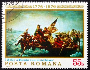 Postage stamp Romania 1976 Washington Crossing the Delaware