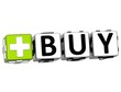 3D Buy Button Click Here Block Text
