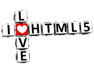 3D I Love HTML 5 Crossword