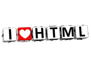 3D I Love HTML Button Click Here Block Text