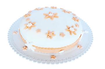 Pasta di zucchero, torta bianca con decorazioni rosa.
